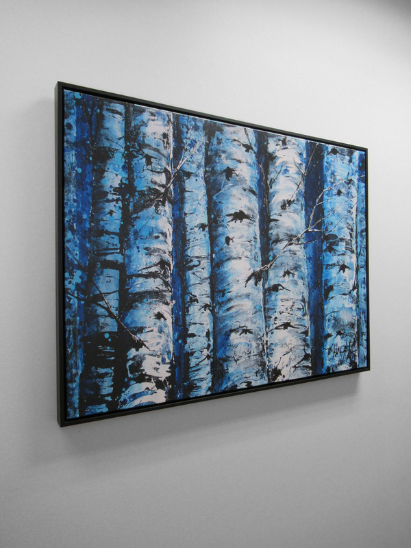 """Blue Trees"" Canvas Floater Framed - Gallery Collection Exclusive"