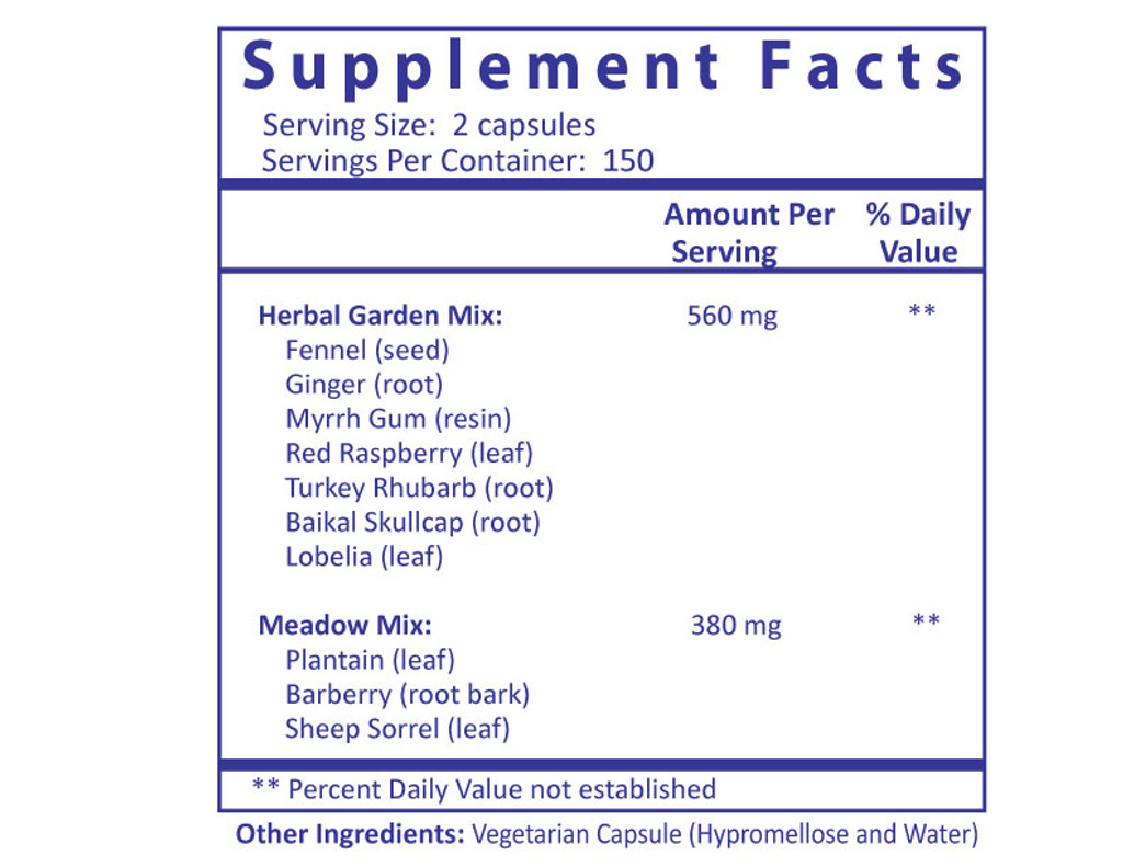 Chomper Aid - 300 capsules Supplement Fact panel