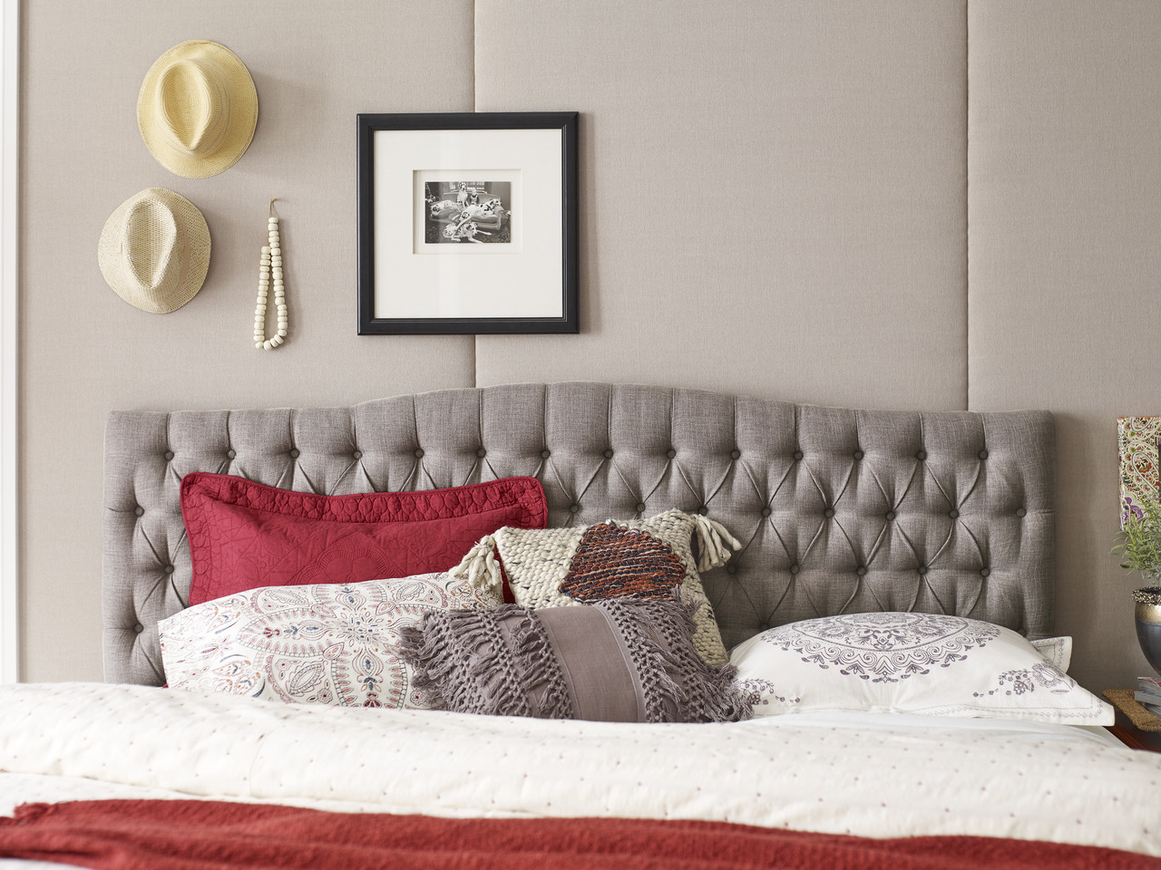 Elle Decor Celeste King Size Tufted Headboard In Brown Clickdecor