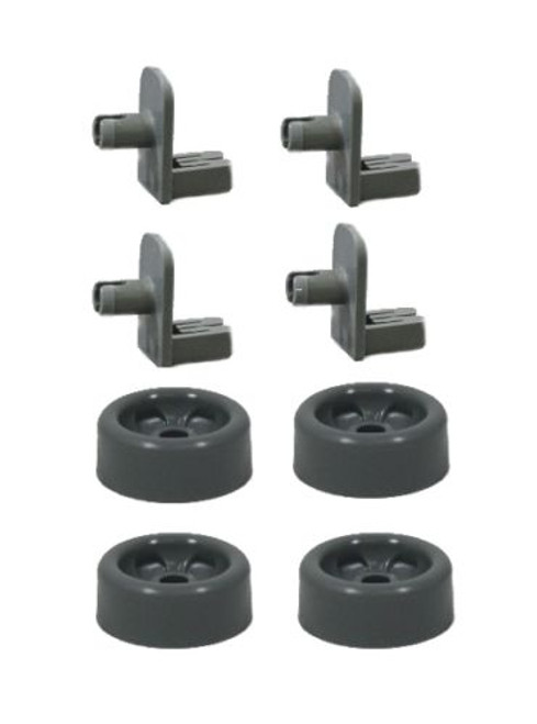 4-Pack WD12X10136 Dishwasher Lower Rack Front Roller and Axle Kit