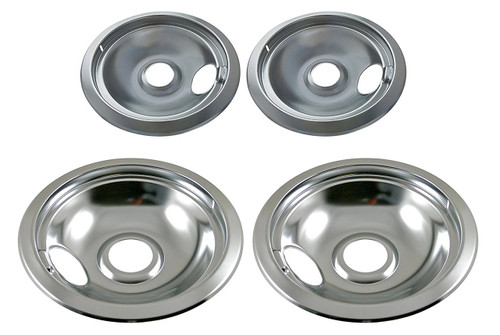 Drip Pan Set Chrome Compatible with Whirlpool FRIGIDAIRE KENMORE Range Oven - 2 x 316048413