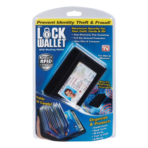 36 Cards Cash Wallet Lock - Leather RFID Blocking Wallets