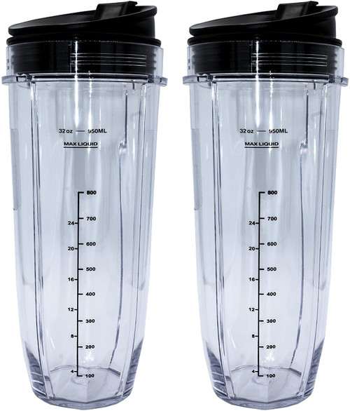 ( 2 Pack ) 32 Ounce Cup with Sip N Seal Lids Compatible with Nutri Ninja Auto-iQ