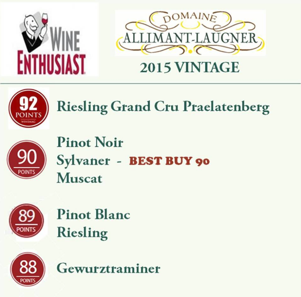 90 points for Muscat d'Alsace 2015