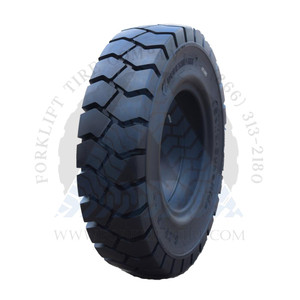 """10.00x20-7.50"""" Forklift Resilient Solid Tire : Black Rubber Traction"""