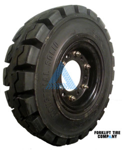 5.00x8 Black Rubber Forklift Resilient Solid Tire and Wheel or 8x3 6-Hole Split Wheel Assembly