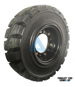 6.50x10 Black Rubber Forklift Resilient Solid Tire and Wheel or 10x5 6-Hole Split Wheel Assembly