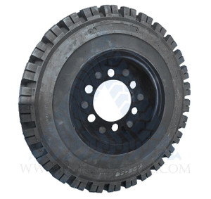 7.00x12 Black Rubber Forklift Resilient Solid Tire and Wheel or 12x5 6-Hole Split Wheel Assembly