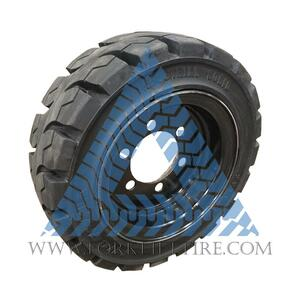 8.15x15 28x9-15 Black Rubber Forklift Resilient Solid Tire and Wheel or 15x7 6-Hole Lockring Wheel Assembly