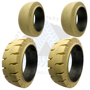 18x7x12-1/8 and 14x4-1/2x8 White Non Marking Forklift Cushion Solid Tires or 4X DEAL