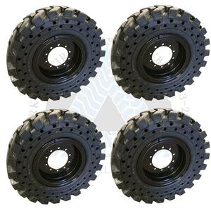 13.00x24 Aperture Solid Tires MOUNTED on 8.5x24 10-Hole Flat Wheels L-2/G-2 or 4X DEAL