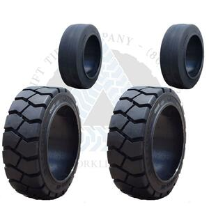 21x7x15 and 18x6x12-1/8 Black Rubber Forklift Cushion Solid Tires or 4X DEAL