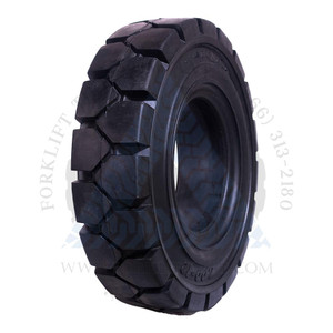 8.25x15-6.50 ROYAL Resilient Solid Tire Black Rubber Traction