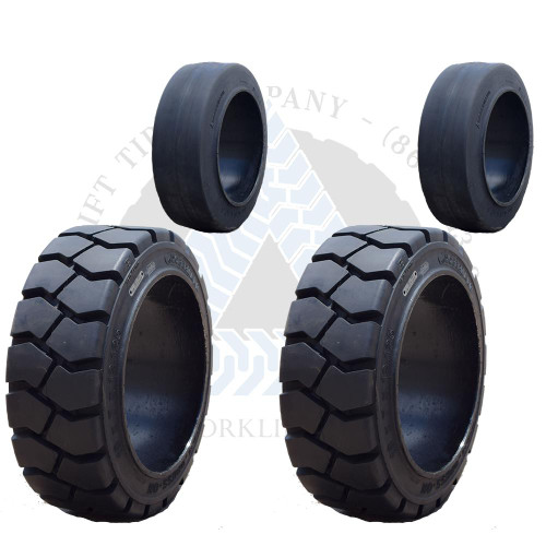 18x6x12-1/8 and 16x6x10-1/2 Black Rubber Forklift Cushion Solid Tires or 4X DEAL