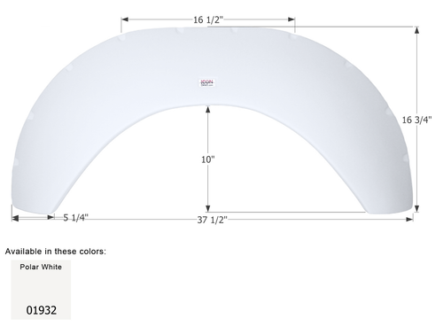 Colonial White ICON Single Axle Fender Skirt FS1738