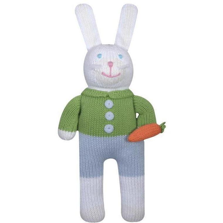 "Knit Boy Bunny 7"" Rattle"