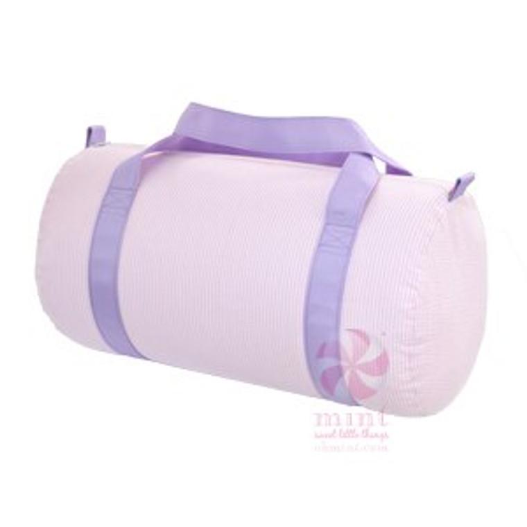 Seersucker Duffel Bag - Pink with Purple