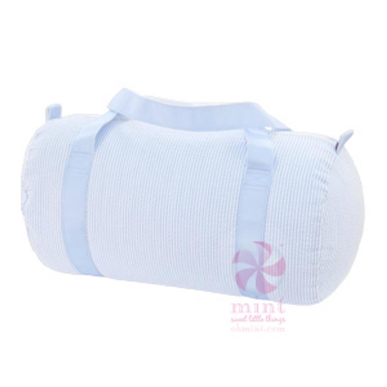 Seersucker Duffel Bag - Light Blue