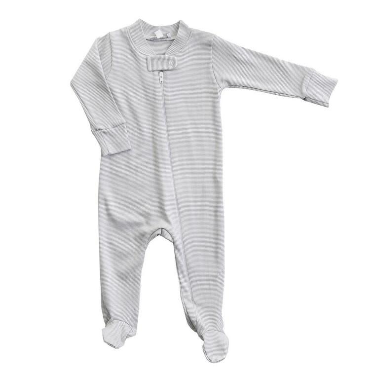 Grey Mini Stripe Zip Footie