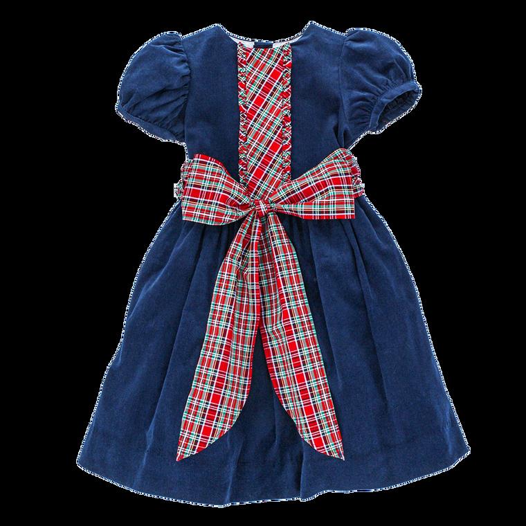 Navy Cord Tartan Bow Dress