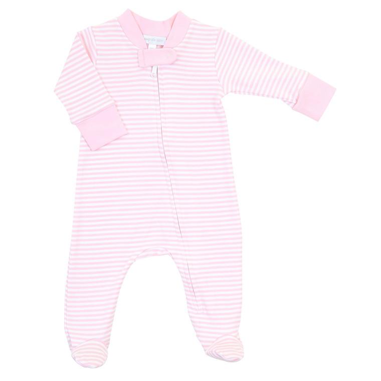 Pink Stripe Zip Footie