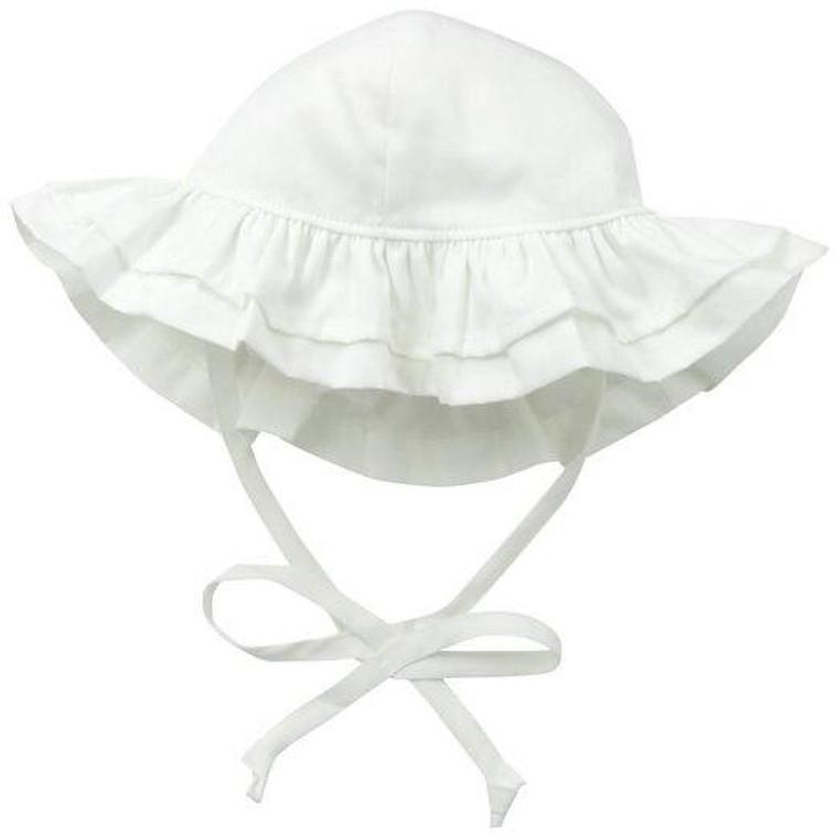 Flap Happy White Ruffle Hat