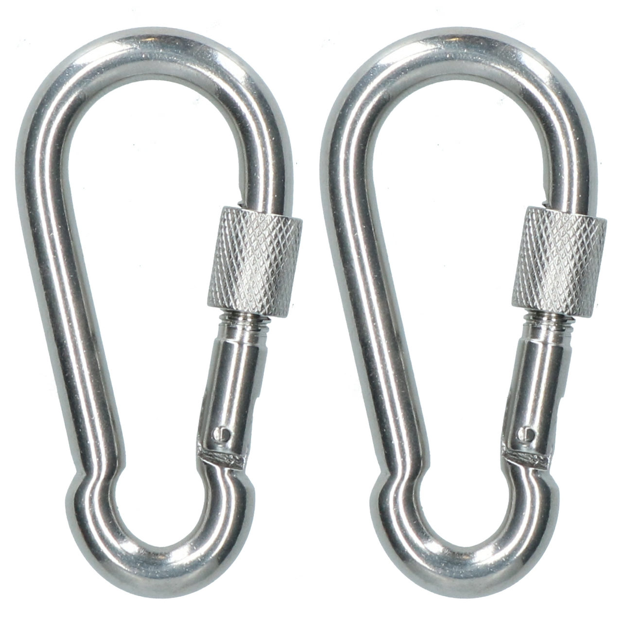 2 x Carabina Carbine Hook with Screw Gate 8mm MARINE GRADE Stainless Steel DK75