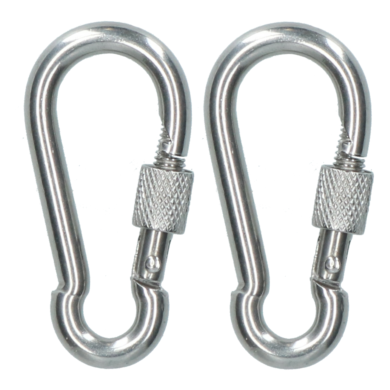 2 x Carabina Carbine Hook with Screw Gate 6mm MARINE GRADE Stainless Steel DK74