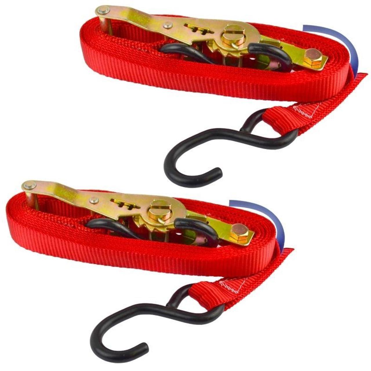 Red Ratchet Strap Tie Down Trailer 4m Hook Cargo Strap 325kg Lashing x 2 (Pair)