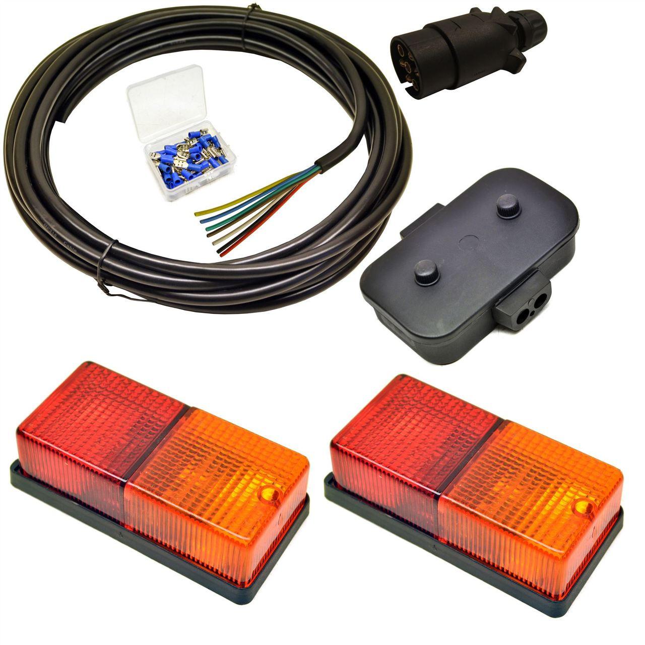 Trailer Light Wiring Kit Medium Lights  Plug  Junction Box  5m Wire  Terminals