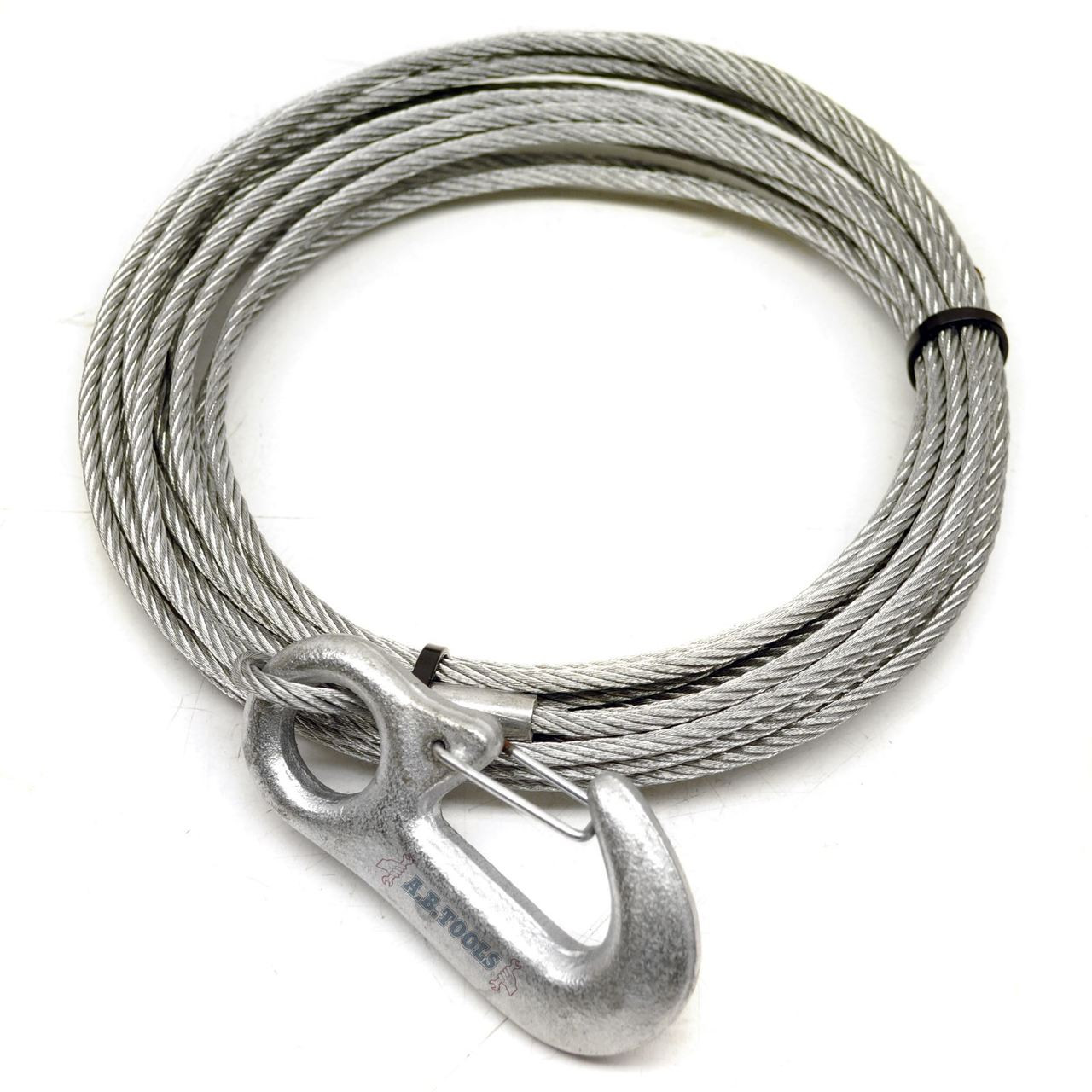 7m Galvanised Winch Cable with Hook TR148