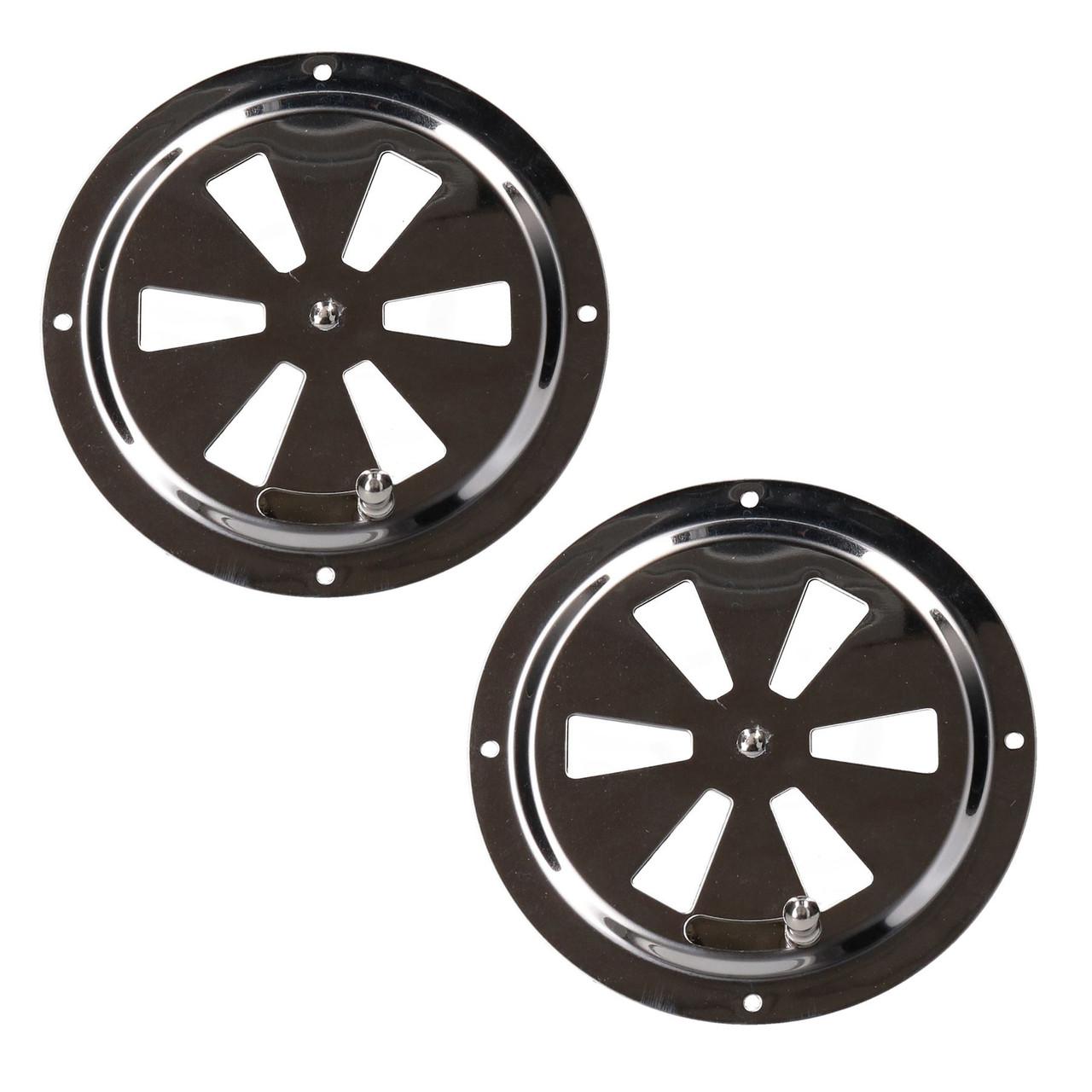 Air Vent Ventilator Grill Round Closeable Polished Stainless Steel Marine 2 Pack