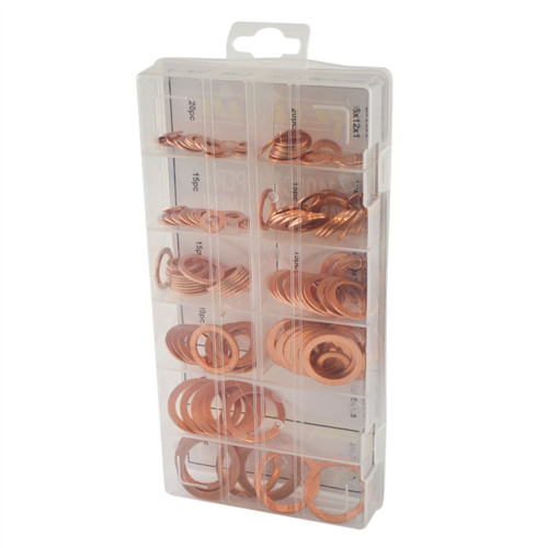 Solid Copper Washers Sump Plug Engine Washer Set Metric 8mm - 24mm 140pc