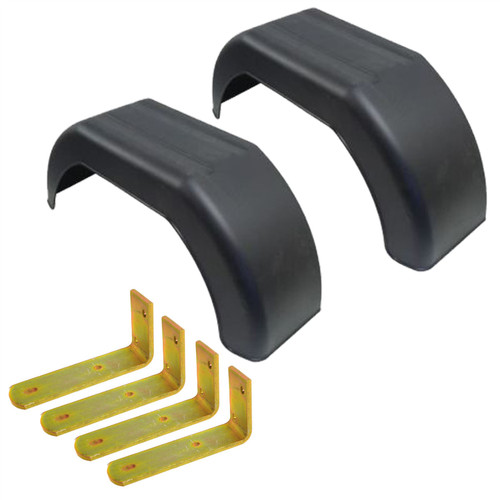 "10"" Plastic Mudguards Fender (Pair) Flush Fit & Mud Guard Angle Brackets (4 Pk)"