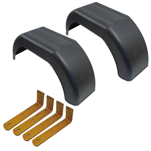"10"" Plastic Mudguards Fender (Pair) Offset Fit & Mud Guard Angle Brackets (4 Pk)"