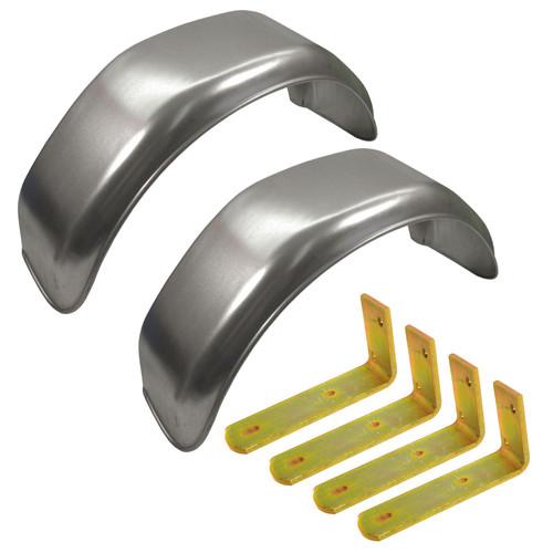 "10"" Metal Mudguards Fender (Pair) Flush Fit & Mud Guard Angle Brackets (4 Pack)"