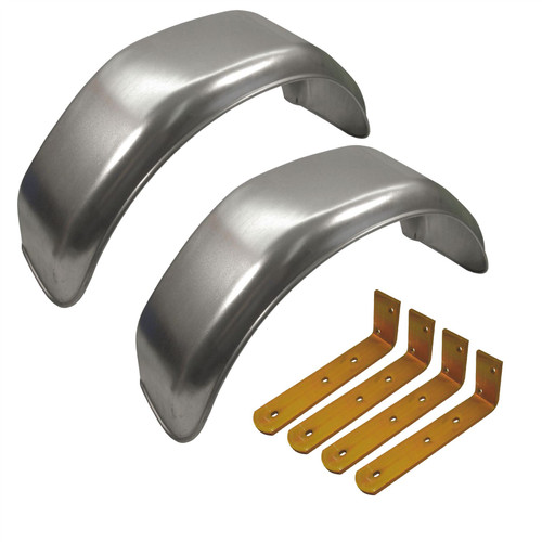 """10"""" Metal Mudguards Fender (Pair) Offset Fit & Mud Guard Angle Brackets (4 Pack)"""