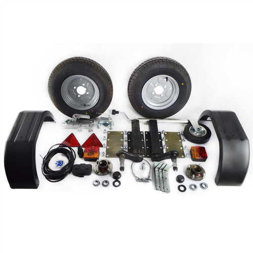 750Kg Trailer Kit Suspension Units Hitch Lights Mudguards Towing 5m Cable Wheels