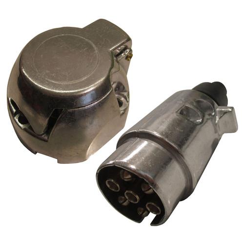 Tow Bar Electrics 7 pin 12v N Type Metal Aluminium Socket & Plug Trailer Lights Car