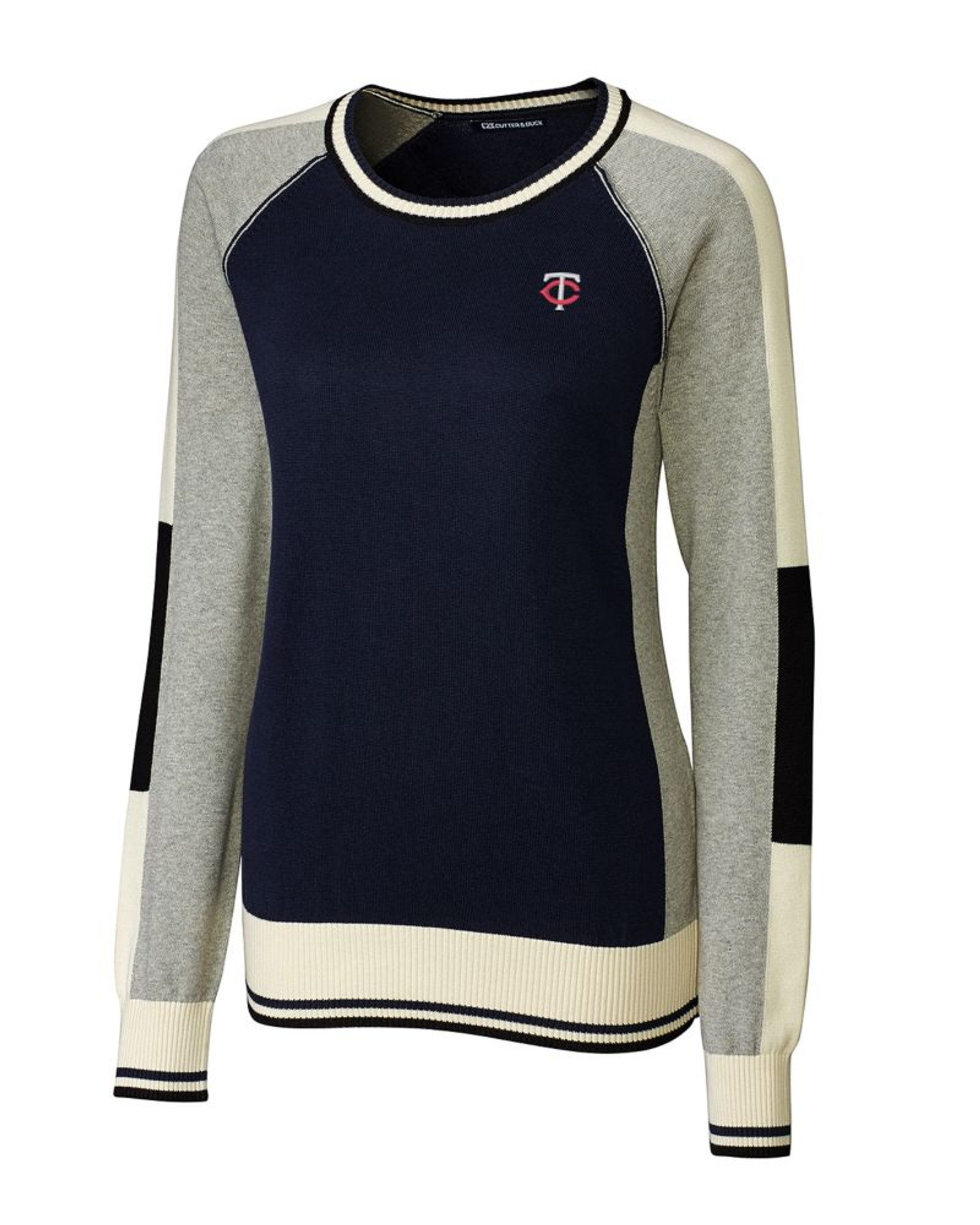 f47dbd3490c Minnesota Twins Ladies Stride Colorblock Sweater - Cutter & Buck