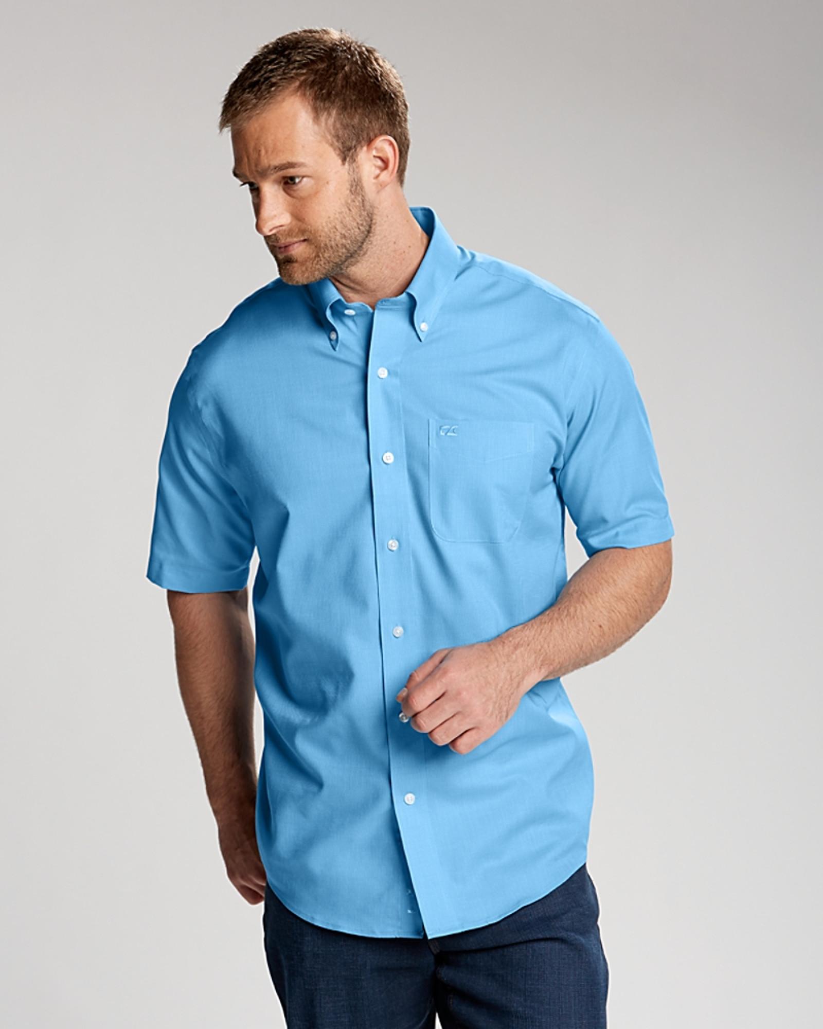 Cutter & Buck Epic Easy Care Nailshead Mens Short Sleeve Dress Shirt