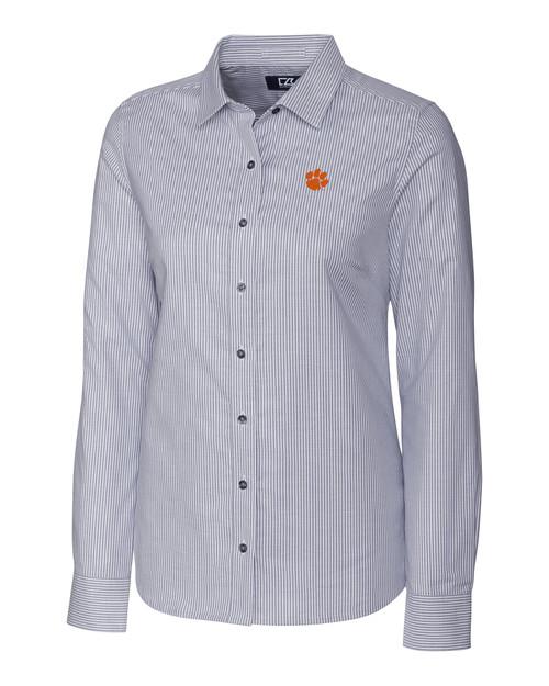 Clemson Tigers Ladies' Stretch Oxford Stripe Shirt