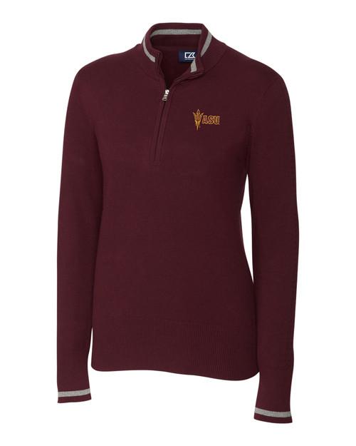 Arizona State Ladies' Lakemont Tipped Half-Zip Sweater