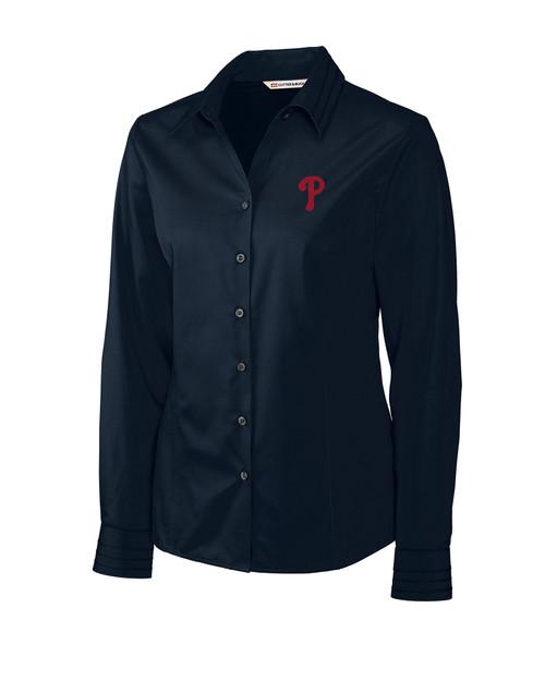 Philadelphia Phillies Ladies' Epic Easy Care Fine Twill Shirt NVBU_MANN_HG 1