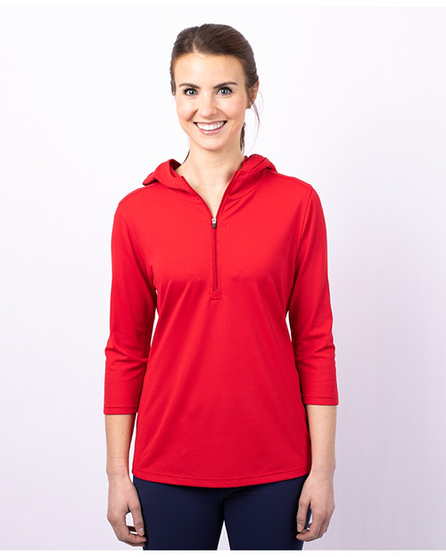 Cutter & Buck Virtue Eco Pique Recycled Half Zip Pullover Womens Hoodie RD_PRO_HG 1