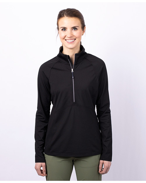 Cutter & Buck Adapt Eco Knit Stretch Recycled Womens Half Zip Pullover NVBU PRO_HG 1