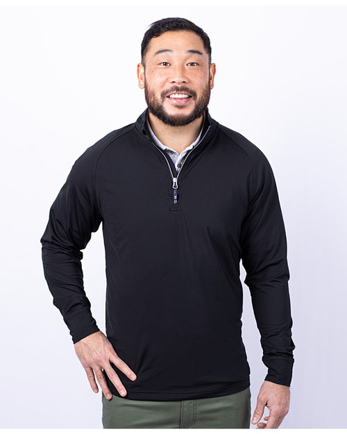 Cutter & Buck Adapt Eco Knit Stretch Recycled Mens Quarter Zip Pullover BL_PRO_HG 1