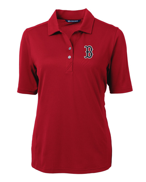 Boston Red Sox Cutter & Buck Virtue Eco Pique Recycled Womens Polo CDR_MANN_HG 1