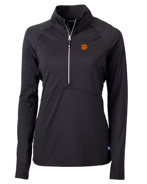 Clemson Tigers Cutter & Buck Adapt Eco Knit Stretch Recycled Womens Half Zip Pullover BL_MANN_HG 1