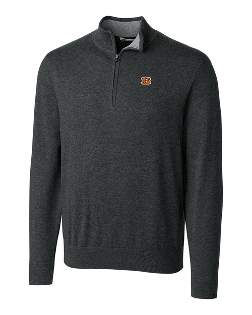 Cincinnati Bengals Cutter & Buck Lakemont Tri-Blend Mens Quarter Zip Pullover Sweater CCH_MANN_HG 1